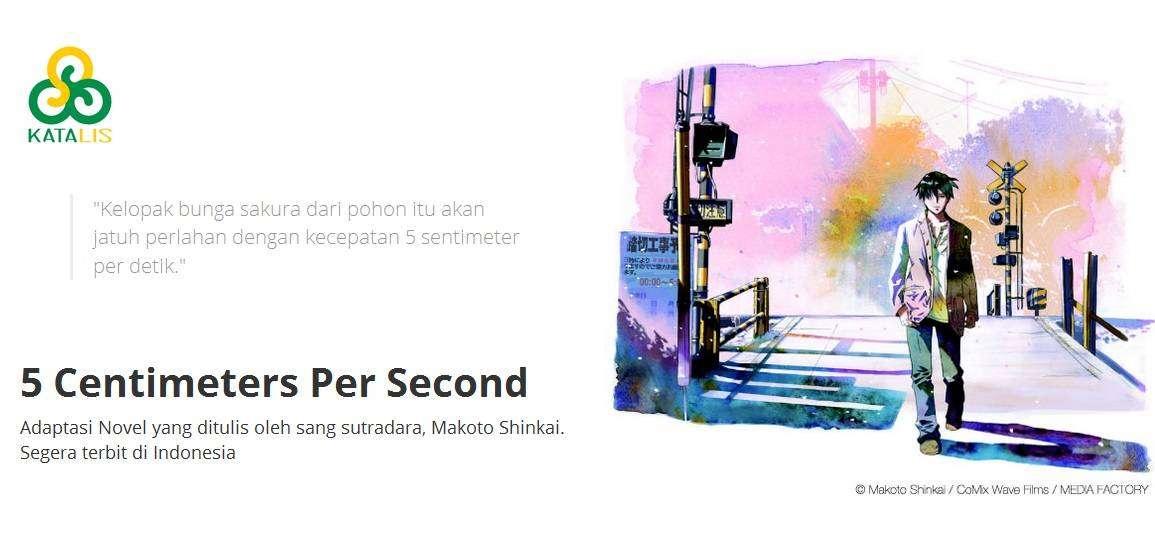 Novel 5 Centimeters Per Second Akan Hadir Di Indonesia Kaori Nusantara