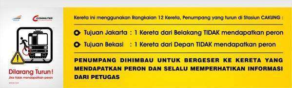 Himbauan untuk penumpang yang hendak turun di stasiun Cakung