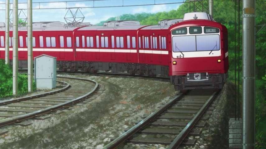 Penggambaran KRL Keikyu seri 600 yang sangat agresif dalam anime ini
