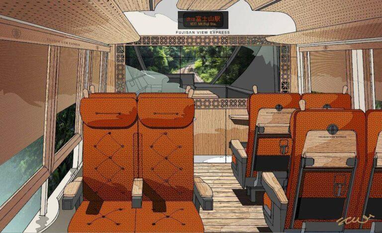 Ilustrasi Interior dari kereta depan Fujisan View Express   Ilustrasi: Eiji Mitooka