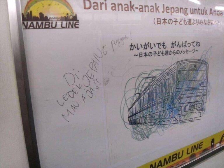 Salah satu gambar buatan anak-anak Jepang yang dicoret