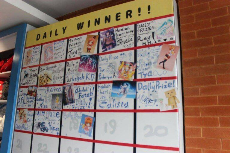 Daftar pemenang dan hadiah yang ada setiap harinya.