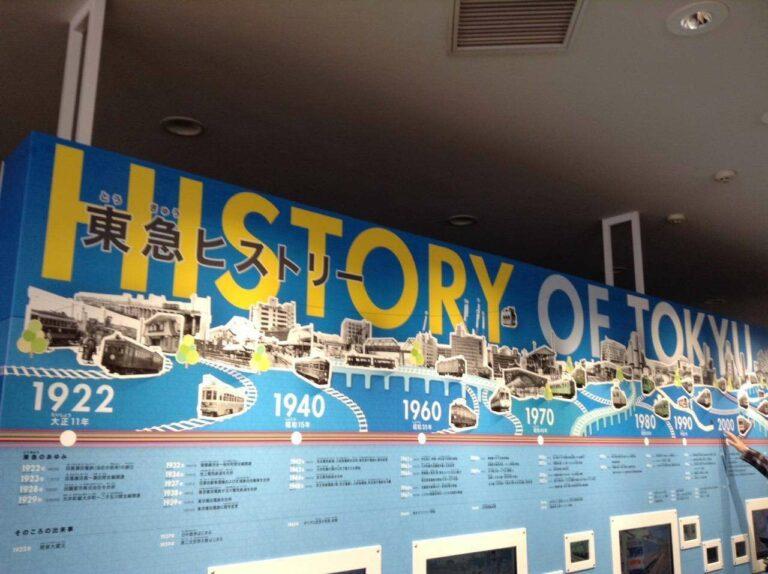Papan yang berisi informasi sejarah dari perusahaan Tokyu