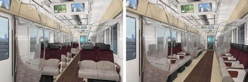 Kursi fleksibel di rangkaian seri 5000 milik Keio | Sumber: railjournal.com
