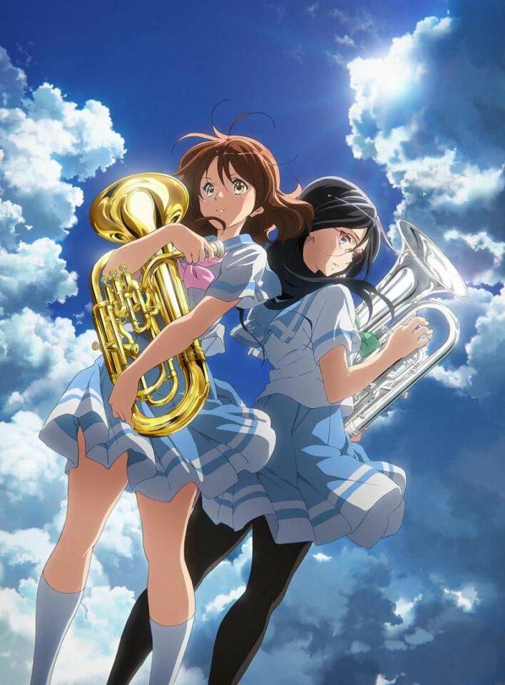 Kiri ke kanan: Kumiko Oumae (disuarakan oleh Tomoyo Kurosawa) dan Asuka Tanaka (disuarakan oleh Minako Kotobuki) (Kyoto Animation).