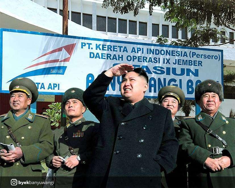 Kim Jong-un tiba di stasiun Banyuwangi Baru | Sumber: Byek Banyuwangi (Facebook)