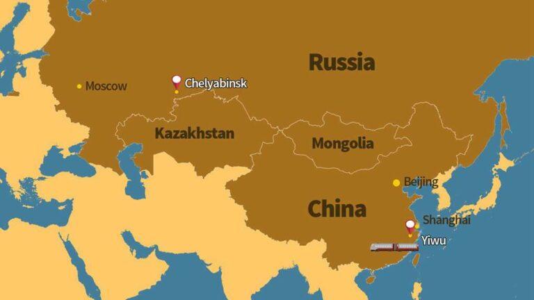 Rute baru yang dibuka yaitu antara Yiwu-Chelyabinsk yang melewati dua benua, Asia dan Eropa