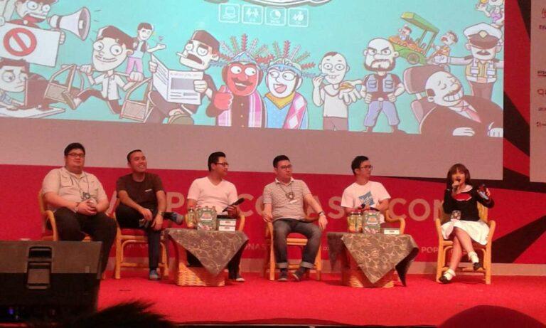 Mutiara Donna Visca (kanan) memandu talkshow bersama para tim pembuat Laga Jakarta