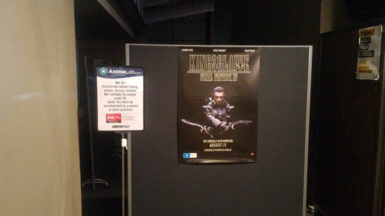 Gerbang masuk ke AnimeLab Screening Theatre, menampilkan preview dari Kingsglaive