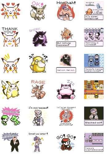 Seri stiker Pokemon ala generasi pertama yang dirilis di LINE (Pokémon/Nintendo/Creatures/GAME FREAK).