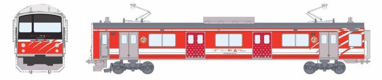 Tampilan Eksterior dari KRL seri 6000, 6501F dengan desain ala kereta MGB | Sumber: fujikyu-railway.jp