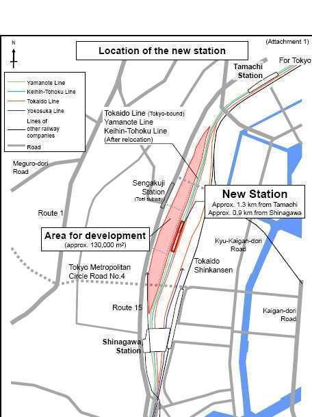 Lokasi stasiun baru di Jalur Yamanote | Sumber: Press Release JR-East