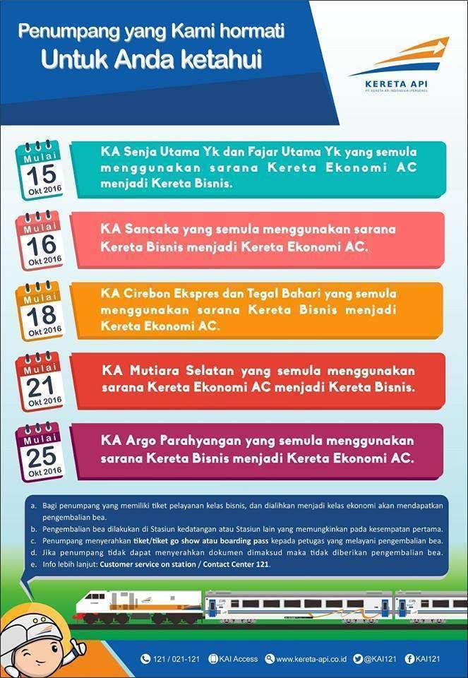 Informasi terkait perubahan susunan rangkaian KA | Sumber: KAI121 (Facebook)