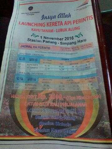 Pengumuman launching KA perintis