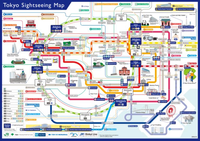 Tokyo Sightseeing Map atau Peta Wisata Tokyo yang berisikan ilustrasi spot wisata serta bandara dalam bahasa Inggris untuk para wisatawan | Sumber: Tokyo Metro
