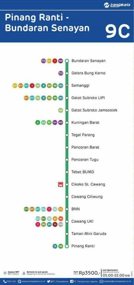 Peta Transjakarta Pinang Ranti - Bundaran Senayan (klik untuk memperbesar)