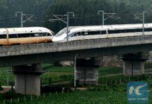 Dua Purwarupa kereta cepat, Blue Dolphin dan Golden Phoenix saat berpapasan | Foto: New China