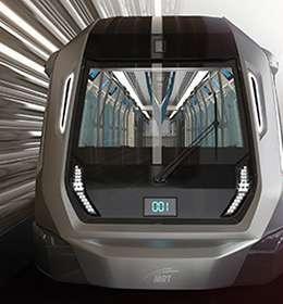 Tampak bentuk wajah kereta MRT Malaysia dengan display LED.
