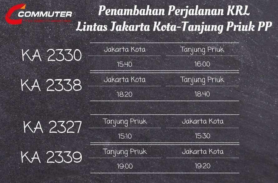 Penambahan jadwal perjalanan KRL lintas Tanjung Priok terhitung sejak 13 Februari 2017 | Sumber: @CommuterLine (Twitter)