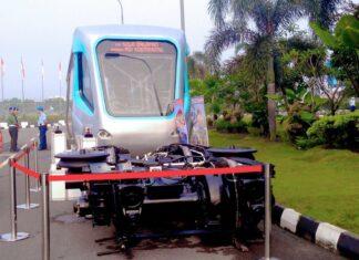 Ilustrasi: Mockup LRT Palembang yang digunakan sebagai contoh sarana KA Bandara Adi Soemarmo, Boyolali | Foto: Indra Yana