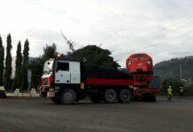 Lokomotif CC201 yang dibawa oleh truk cometto (Baradipat / Daffa Kurniawan Arief)