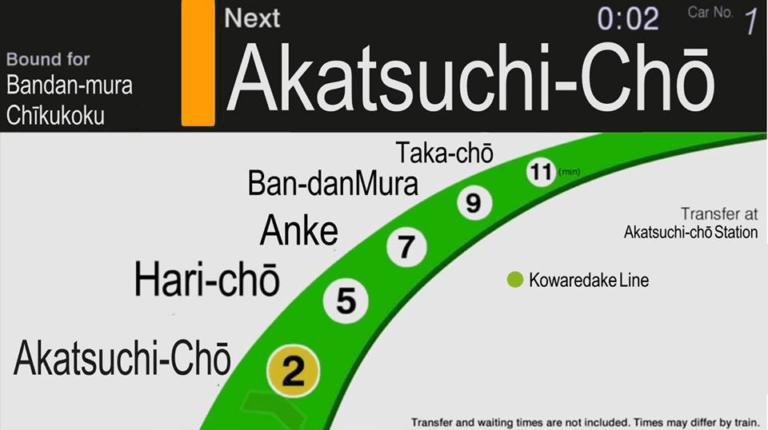 Ilustrasi gambar peta rute bila ditampilkan di layar informasi (Akineko Creative Works)