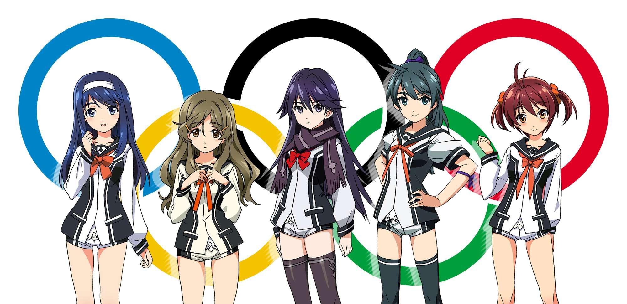 Ilustrasi para gadis dari seri anime vividred operation dengan logo olimpiade a 1 pictures