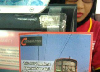 Tanda Khusus Pada Loket Alfamart yang menerima pengisian Kartu Multi Trip (KMT)