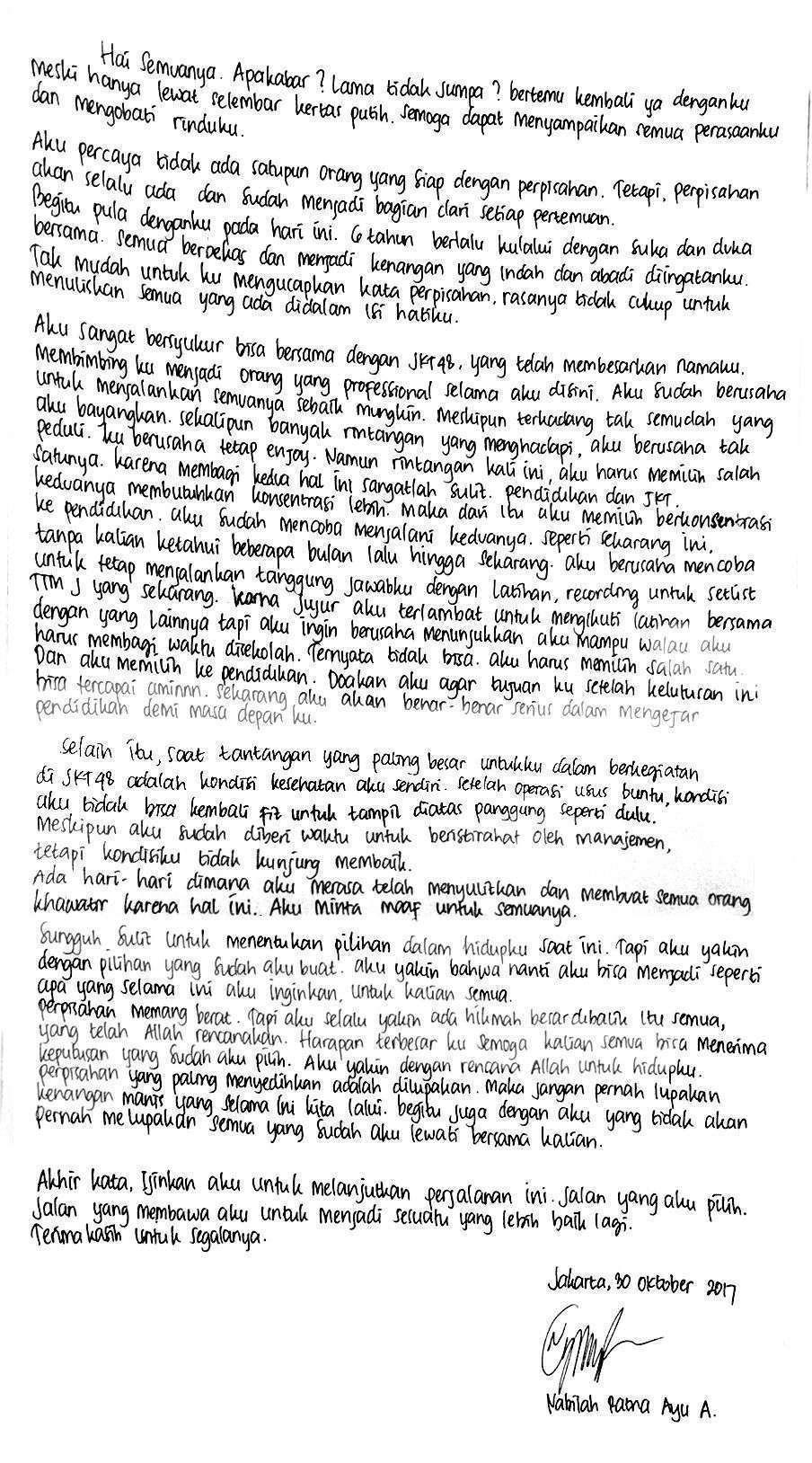 Surat Nabilah JKT48