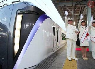 Seremonial KRL seri E353, The New Super Azusa | Sumber: trafficnews.jp