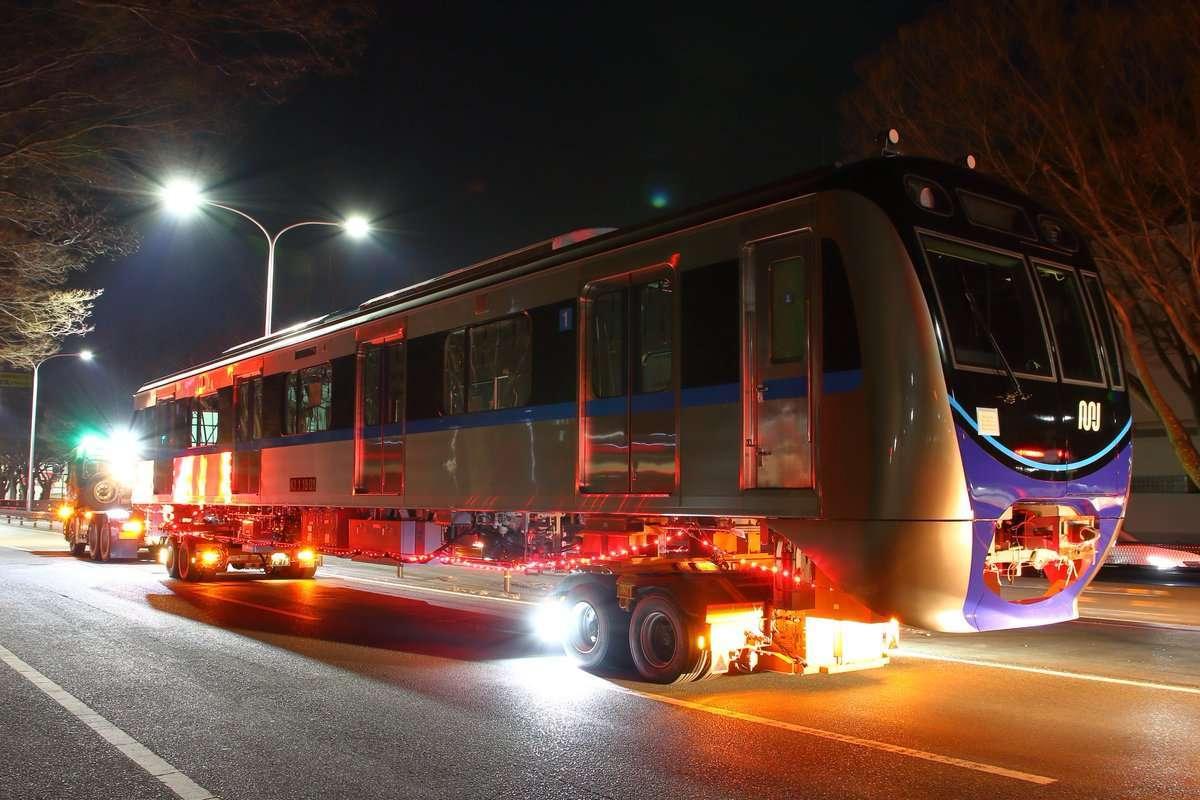 Rolling stock MRT Jakarta yang dikirim dari pabrik Nippon Sharyo (Twitter / かわねじ)