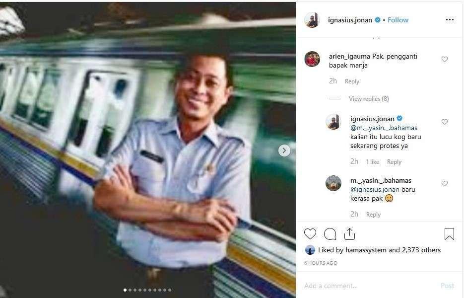 Jonan menanggapi komentar warganet mengenai kinerja Edi Sukmoro. (IG @ignasius.jonan)