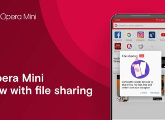 opera mini file sharing