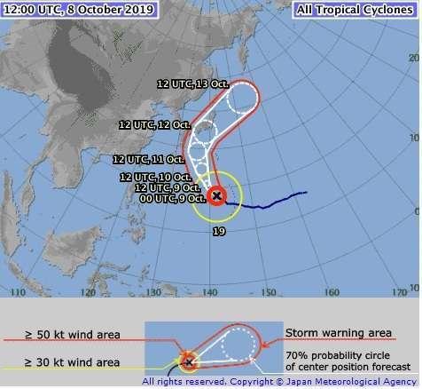 Proyeksi jalur Topan Hagibis (Topan no. 19) yang akan menerjang sebagian besar wilayah Jepang (Sumber: Badan Meteorologi Jepang)